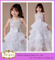 De alta calidad de organza hermosa apliques vestido sin mangas de longitud del piso blusa acanalada niña vestido de flores( wl10