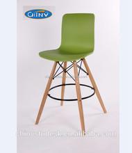 High quality solid wood wood plastic fixed bar stool