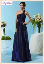 2015 new long elegant one shoulder navy blue pleated bodice taffeta latest formal dress patterns