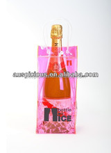 Transprent pvc bag for travel shopping/promotional wine bottle bag