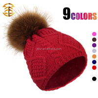 New Year Products Knit Hat With Fur Ball Colorful Girl Women Man Lovely Beanie Hat