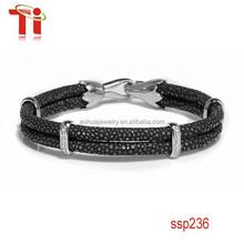 OEM/ODM factory 316L stainless steel black stingray skin bracelet jewelry with diamond