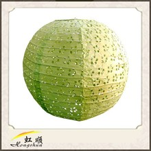Festival 16'' Light Lime Lace Look Paper Lantern Value Pack Party Accessory