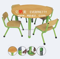 Popular kids mushroom table and chairs, wooden material cute preschool children table and chair
