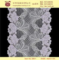 Rose flower nylon tricot lace material trimming fabric for dress, blouse, tops, suits