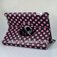 Hot Pink and Black Polka Dot Pattern PU Leather Case For iPad 2 & iPad 3 3rd (the New iPad) With 360 Degrees Rotating Stand