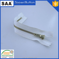 2015 hot sale brass teeth color white tape auto lock slider close end 5# brass zipper
