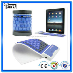 Hot sell wireless silicone waterproof soft bluetooth keyboard for ipad, Multi-color foldable soft computer bluetooth keyboard