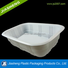 white PP microwaved and frozen plastic blister food storage tray