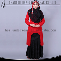 MD A015 Latest casual dress designs long sleeves red color dress wholesale dubai abaya islamic clothing indian