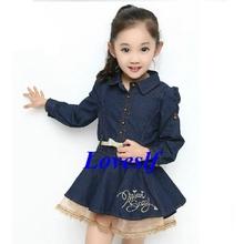 2014 loveslf fabricante de china crianças vestuário/crianças roupas/roupa/manga comprida vestido de cowboy