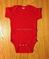 2015 plain red baby romper short sleeve cotton baby bodysuits wholesale