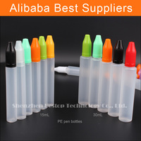 30ml LDPE pet bottle recycling plant with round screw cap cover and plastic tube tops for e cigarette juices