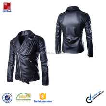 Newest Design Men's Causal Belted Slim PU Leather Biker Zipper Jacket Coat