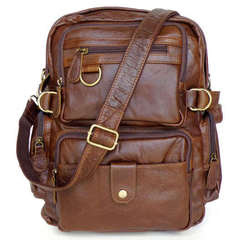 7042 JMD Genuine Brown Leather Photo Backpack