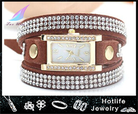 Bead Bling Crystal Wrap Leather Bracelet Watch Vogue Watch