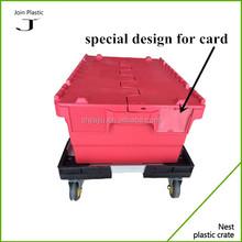 2015 popular heavy-duty plastic storage box with wheels