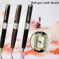 Newest Pen with Watch Hot Sale Novelty Desing High Quality Ballpoint Pen with Clock Shell Dial case with Crystal for Men Gifts