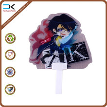 Transparent clear pp plastic handle fan with full color printing