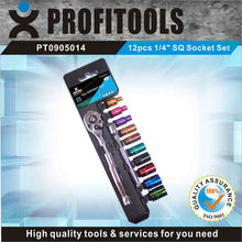 """12pcs 1/4"""" CRV color coated SQ tool kit for motorcycle"""