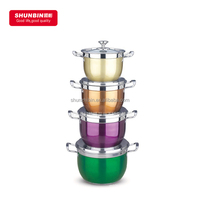 SZB - 23 stainless steel bright color cookware sets / stainless steel color paint 10pcs set