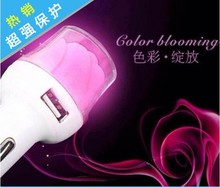New Style Rose flower car charger with 2 USB port 5V 3.1A charging for smart phone