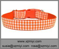 2015 Stylish pet products orange plaid custom martingale dog collar