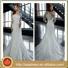 LB12 Charming Heavy Hand Made Beading Lace Applique Three Quarter Sleeve Floor-Length Long Mermaid Fish Tail Wedding Dress 2015