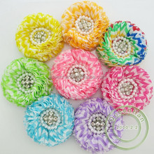 IN STOCK 3.4'' Chevron Flowers With Pearl And Rhinestone,Rainbow Flowers For Baby Girls Hair Accessories