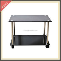 square corner shelf tempered glass side table
