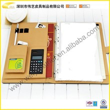 Good Quality Custom Hot Sale A4 Luxury Leather Portfolio With Calculator And Notebook