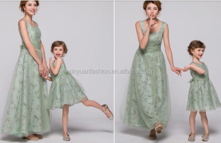 vestidos de nuevos diseños para madres e hijas de nuevo estilo de 2015
