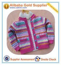 Estilo americano frente zip suéter/poncho de punto para la niña