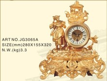 Europe style brass marble antique mechanical craft clock