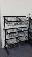 metal wire commodity basket display rack / supermarket vegetable rack