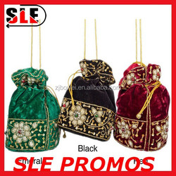 india small velvet drawstring bag with bead