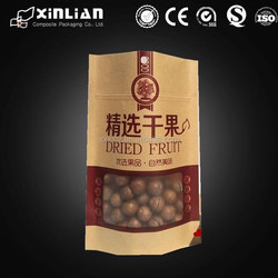 Brown kraft paper bag for cement with window and zipper
