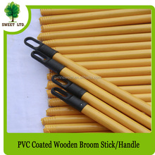 Yellow and green pvc coated broom stick with long cap