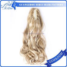 Synthetic hair body wave hair weft/ponytail, body wave hair weft/ponytail full cuticles attached, virgin malaysian hair ponytail