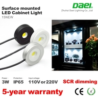 ip65 waterproof pwm dimmable 3w cob ultra-thin 13mm surface mounted led ceiling light 110v / 220v dimming