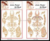 Color Change flash gold metallic henna fake body stocking tatoo temporary stickers arabic golds glitter large temporary tattoos