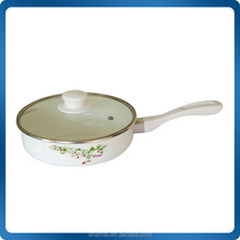 Enamel frying pan with removable handle and Glass lid