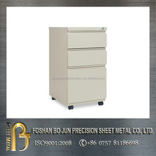 custom white color powder coating drawer storage cabinet with 360 degrees rotating wheels
