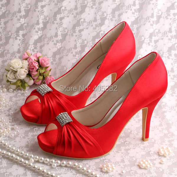 Wholesale Custom Handmade Satin Red Wedding Party Shoes For Women ... 8baae982cd95