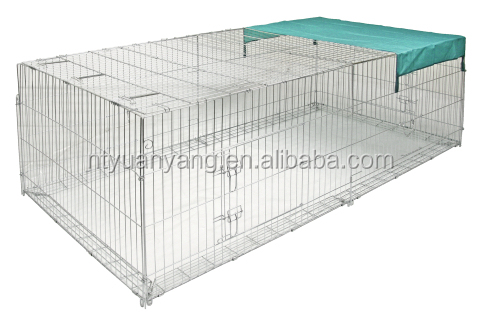 folding metal wire rabbit run enclosure pet fence rabbit cage with net