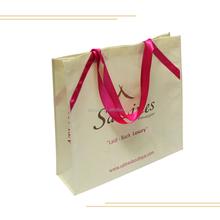 Non Woven Silk Decoration Handbag Women/Female Shopping Gift Bag with Silk Ribbon Handle,Luxury Shopping Gift Tote Bag