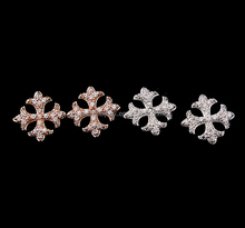 snowflake pave AAA zirconia stud earrings platinum filled