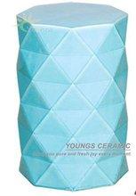 Chinese Blue Color Diamond Ceramic Porcelain Stool