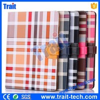 Grid Pattern Card Slots Flip Stand TPU+ PU Leather Case for iPad Air 2