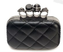 Fashion skull 4 ring clutch bag,hard case for party